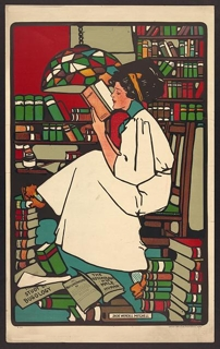 Woman with piles of books